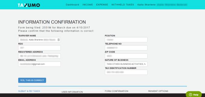 Taxumo Information Confirmation