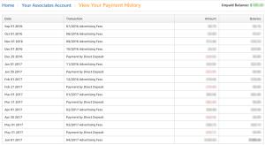 Amazon Associates Payment History