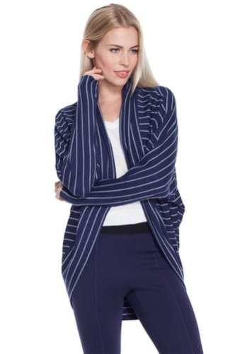blue striped pullover