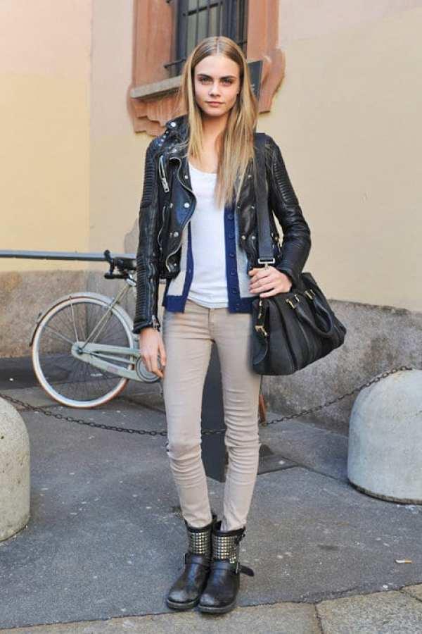 model cara delevingne black leatherr