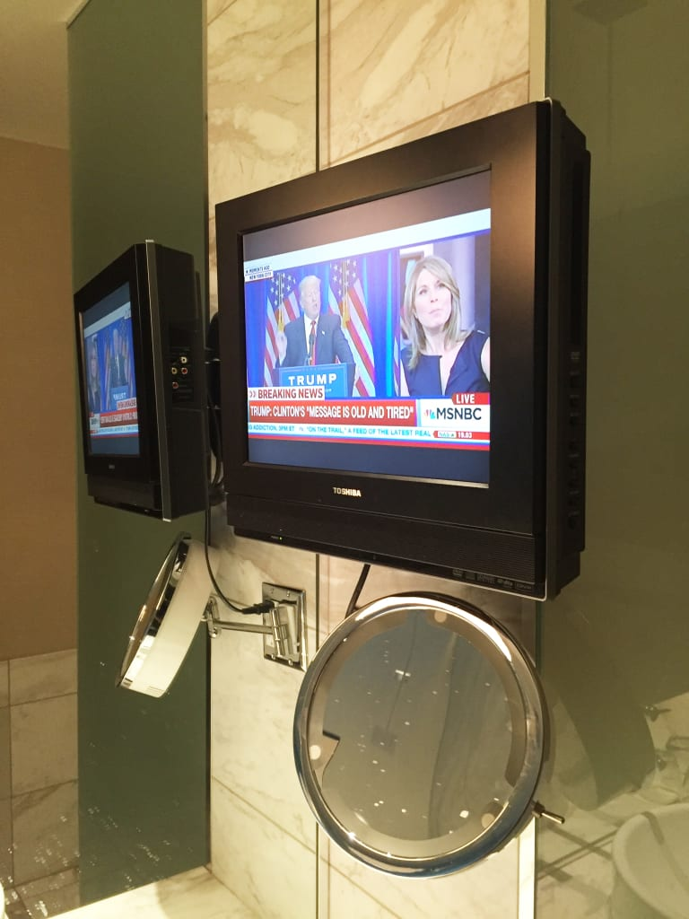 The Palms Hotel Room Bathroom TV