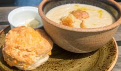 Cauliflower Soup with a cheeses scone