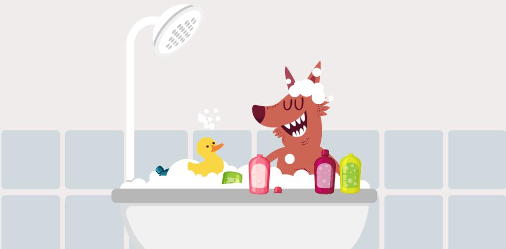 Werewolf taking a bubble bath