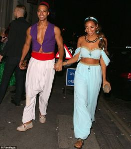 Aladdin and Jasmine Halloween Costume #halloween #halloweencostume #halloweencouplecostume #couplecostume #diycostume #diyhalloween #diyhalloweencostume #KAinspired www.kainspired.com