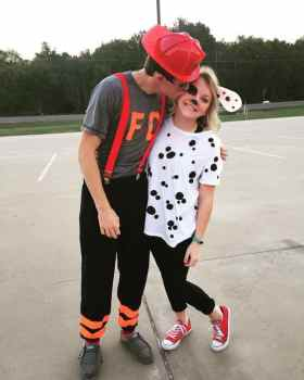 Dalmatians and Firemen Halloween Costume #halloween #halloweencostume #halloweencouplecostume #couplecostume #diycostume #diyhalloween #diyhalloweencostume #KAinspired www.kainspired.com