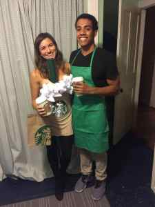 STARBUCKS Frappe and Barista Halloween Costume #halloween #halloweencostume #halloweencouplecostume #couplecostume #diycostume #diyhalloween #diyhalloweencostume #KAinspired www.kainspired.com