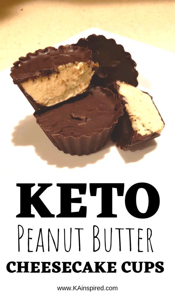 Keto Peanut Butter Cheesecake Cups #keto #ketorecipes #ketodesserts #fatbombs #ketofatbombs #dessertideas #peanutbuttter #KAinspired