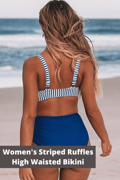 Women's striped ruffles high waisted bikini | Summer Fashion