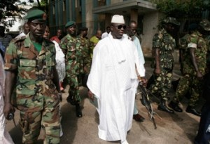 Jammeh with guards