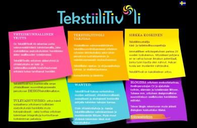TekstiiliTivolin verkkosivun suunnittelu ja toteutus, 2013.