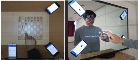 Examples of using touch input technology: By using only smartphone, you can use surrounding objects as a touch screen anytime and anywhere.
