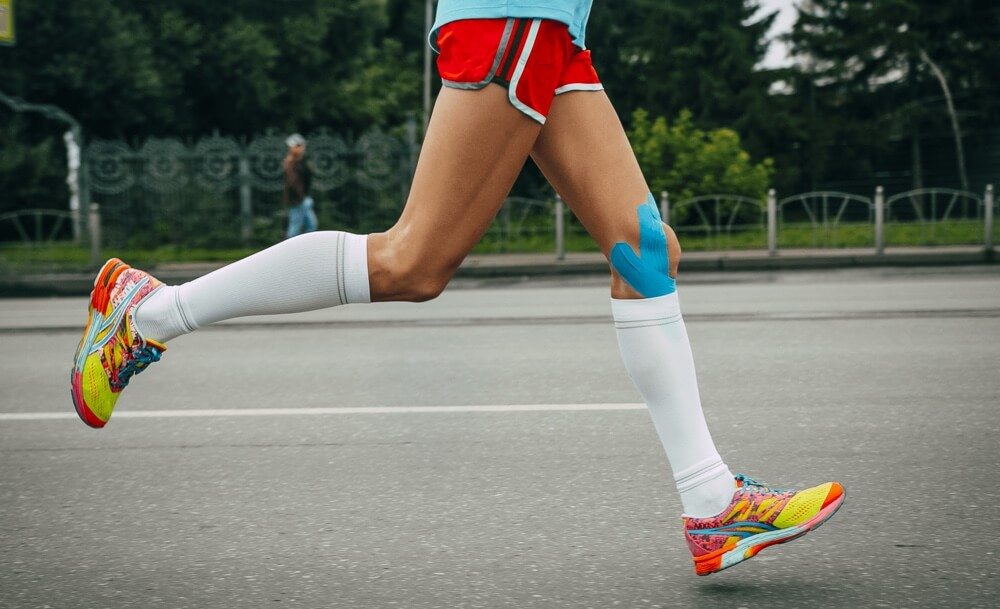 Compression socks therapy marathon runners