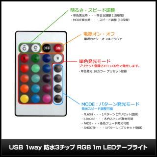 USB RGB LEDテープライト 100cm DC5V