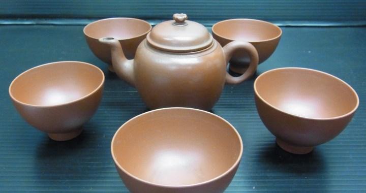煎茶道具 備前金重 在銘 龍山 朱泥急須 茶碗 5客 中古品