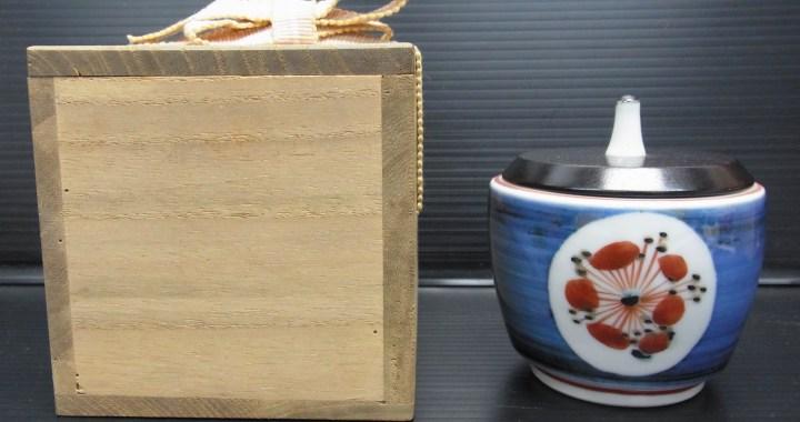 茶道具 色絵春秋花文 香炉 香爐 鈴木清 在銘 共箱 中古品