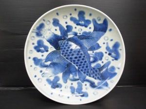 時代物 古染付 双鯉図 中皿 直径 約32.1cm 中古品