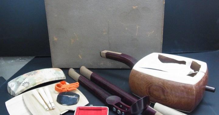 昭和10年 木内三弦店製 三味線 象牙糸巻き ケース付 中古品