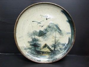 時代物 信楽絵皿 大皿 松庄 直径 約36.2cm 中古品