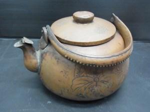 時代物 銅製 薬缶 やかん 菊五七桐紋彫り 中古品