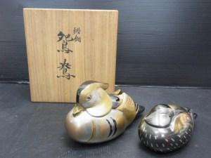 鋳銅製 鴛鴦 一対 在銘 共箱 置物 中古品