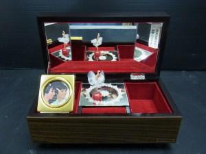 昭和レトロ オルゴール 回転バレリーナ 写真立付き 宝石箱 中古品