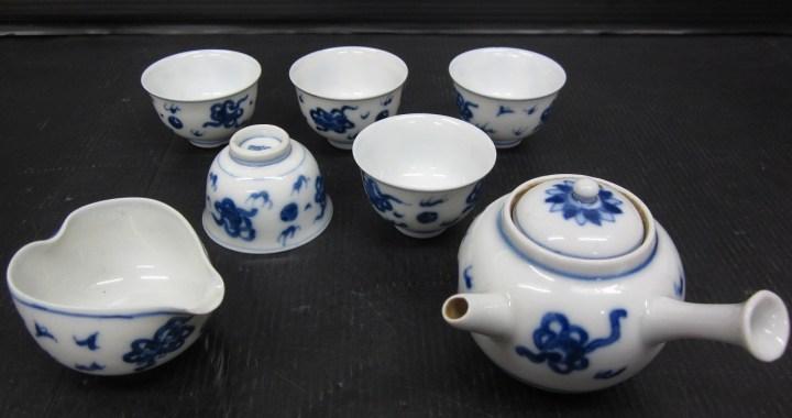 煎茶道具 道八 染付け 茶器揃い 急須 中古品
