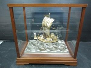 関工芸 宝船 銀製置物 STERLING 960 木箱入り 中古品
