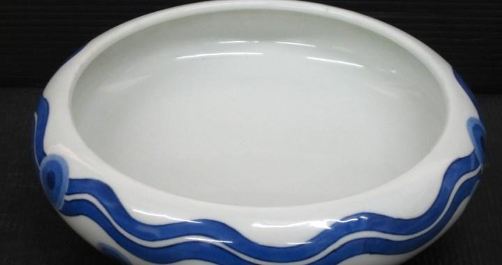 東珠 染付 水盤 直径 22.2㎝ 在銘 中古品
