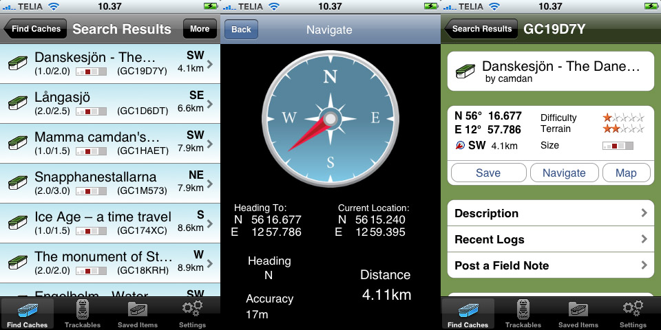 Geocaching på iPhone