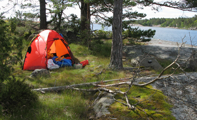 Vill man tälta mjukt så är nog denna platsen bäst. Men bara plats till ett ganska litet tält