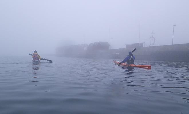 Här var det väldigt dimmigt, precis vid Donsöhamn