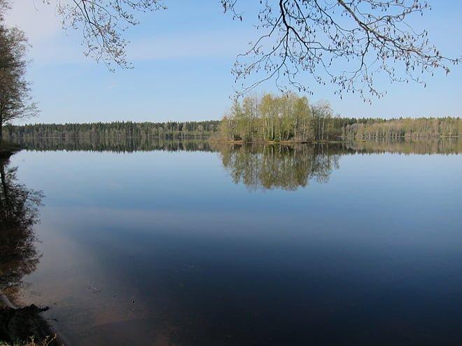 Fin morgon vid Almesåkrasjön strax väster om Bodafors