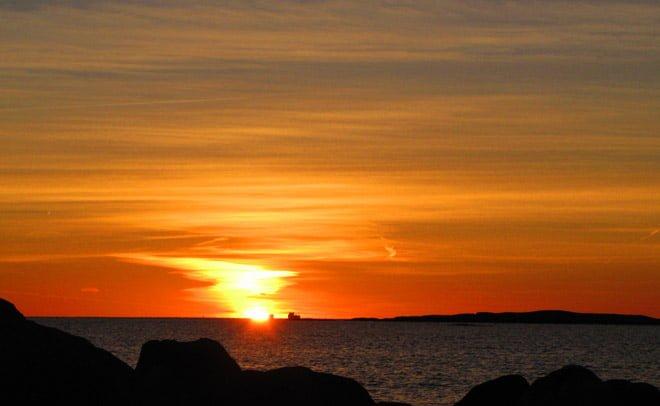 Solnedgång sett från Tanneskär