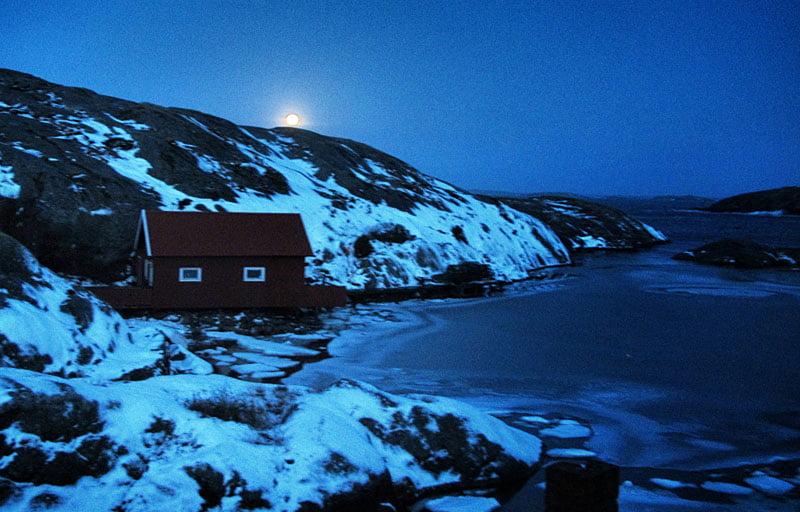 Morgonvy från rummet, månen på väg ner.