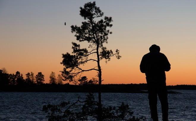 Ola surfar upp sista mobiltäckningen i solnedgångsljuset. En havsörn drar förbi och kollar läget