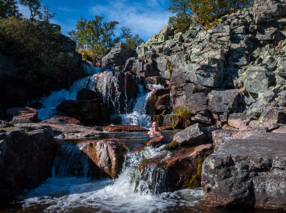 Bad på toppen av Njupeskär