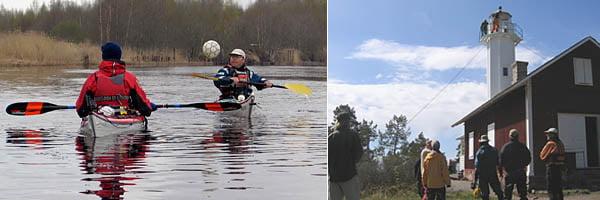 Håkan & Per-Erik spelar KajakTennis eller var det fotboll? | På besök vid Skage fyr på lördagen.