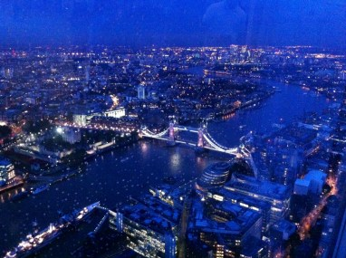 London, Blick vom shard auf die Tower Bridge, August 2014