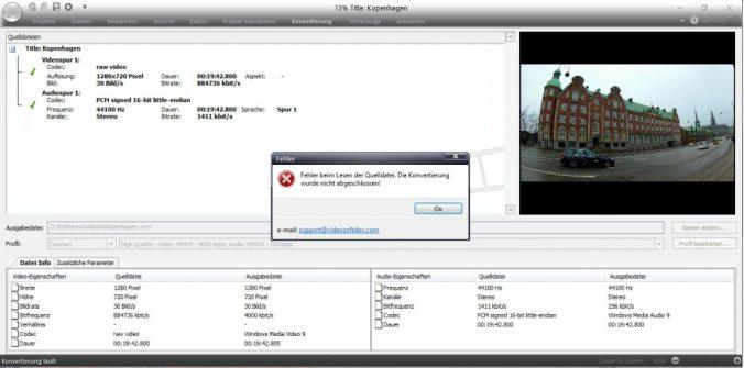 VSDC Video Editor Fehler Videoschnitt