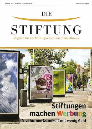 Titelblatt der Stiftungskommunikation Ausgabe 05/2016 September 2016
