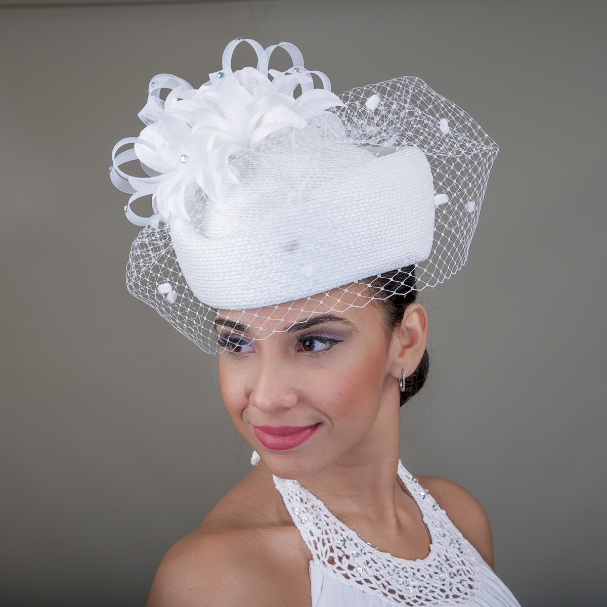White Flower Veil Pillbox Hats 301725 WT Sun Yorkos