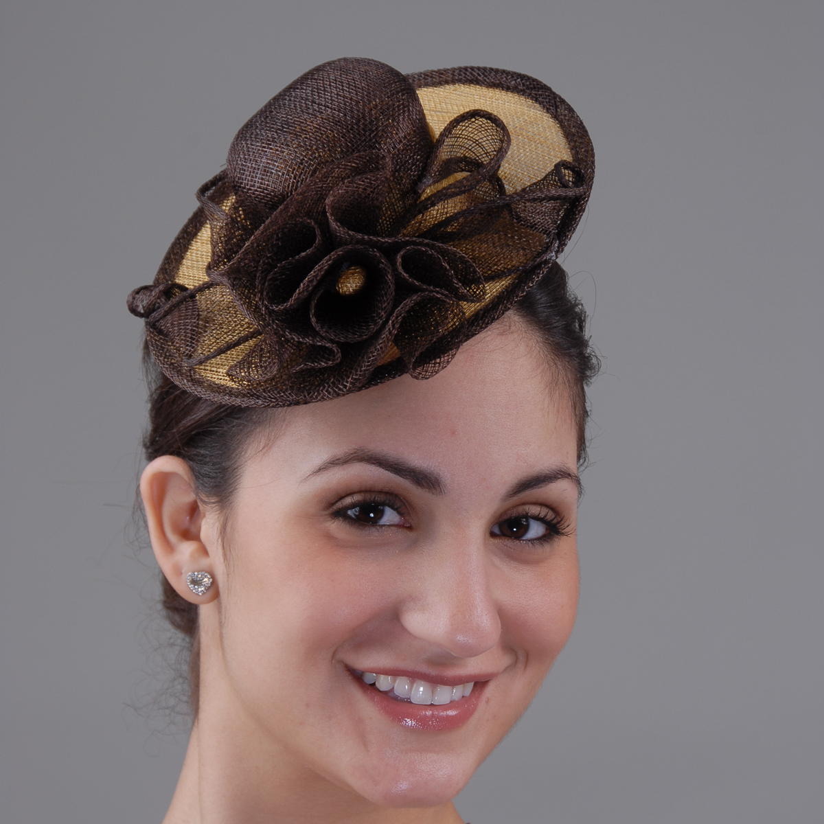 Brown Gold Sinamay Comb Fascinator Cocktail Hats 5668 BN