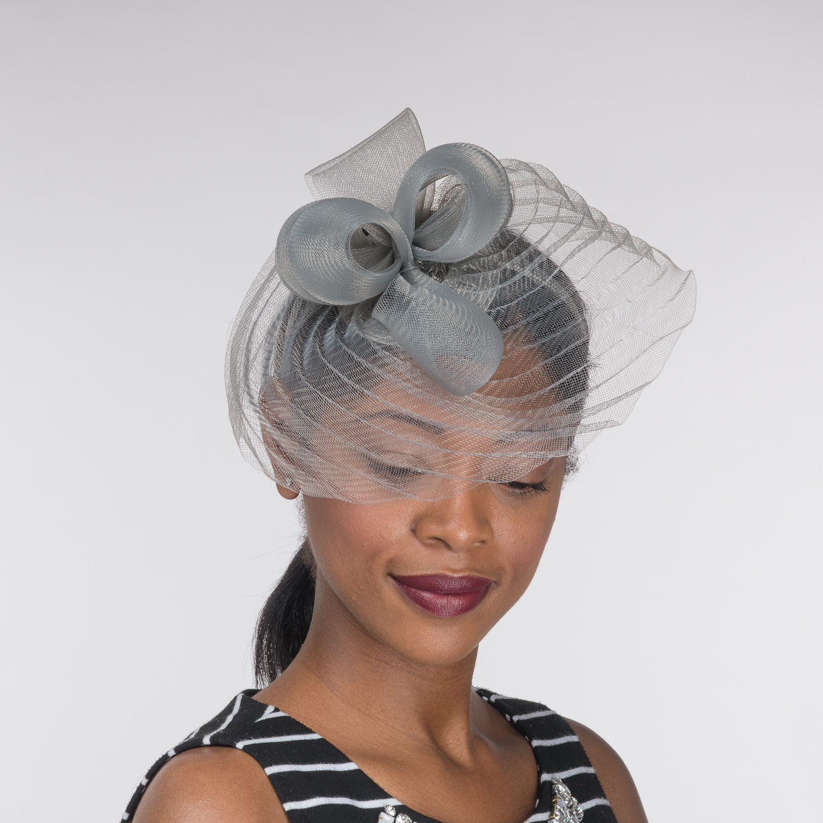 Grey Pleated Crinoline Headband Fascinator Cocktail Hats