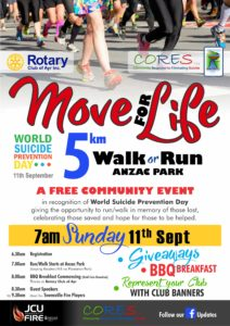 Move for Life - World Suicide Prevention Day - 11th September.