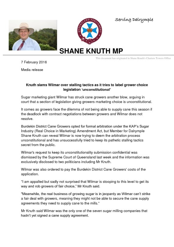 thumbnail of MEDIA RELEASE Knuth slams Wilmar over stalling tactics as it tries to label grower choice legislation 'unconstitutional'