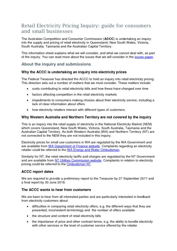 thumbnail of Retail Electricity Inquiry  consumer and small business information sheet  5 June 2017 v2