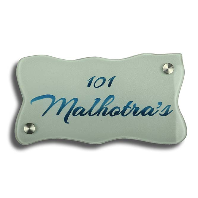Malhotra Glass Etching Nameplate