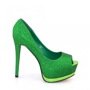 reducere Pantofi dama verzi cu sclipici, cel mai mic pret