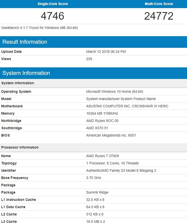 AMD Ryzen 7 2700X  Geekbench