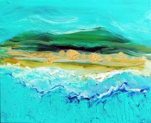 Island Fantasy 9. acrylic on canvas, 8x16in. $150
